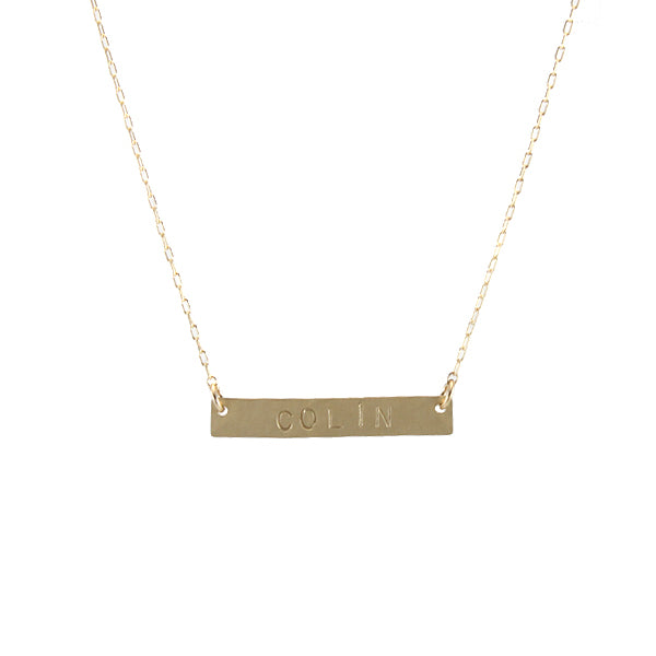 Stamped Nameplate Necklace, gold
