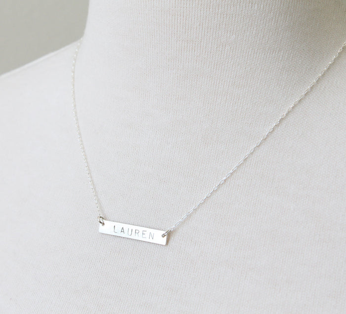 Nameplate Name Necklace in sterling silver