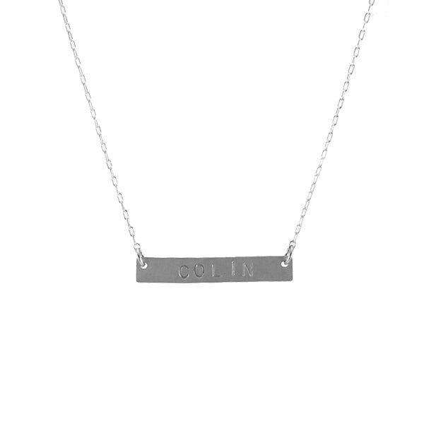Stamped nameplate necklace, silver