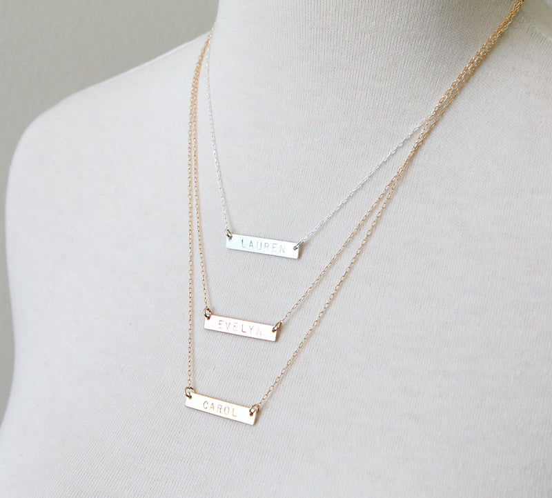 Nameplate Necklace metal colors
