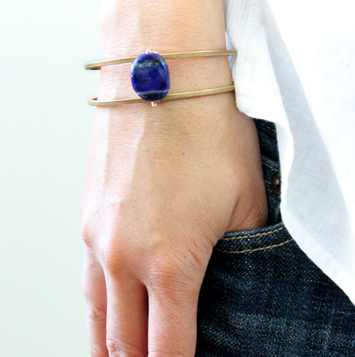 Open wire cuff with lapis stone detail