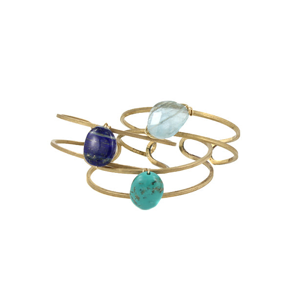 Open metal cuff with gemstone focal