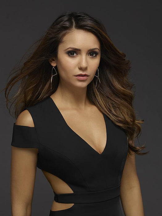 Nina Dobrev for The Vampire Diaries in Cornered Geo Earrings by Peggy Li Creations