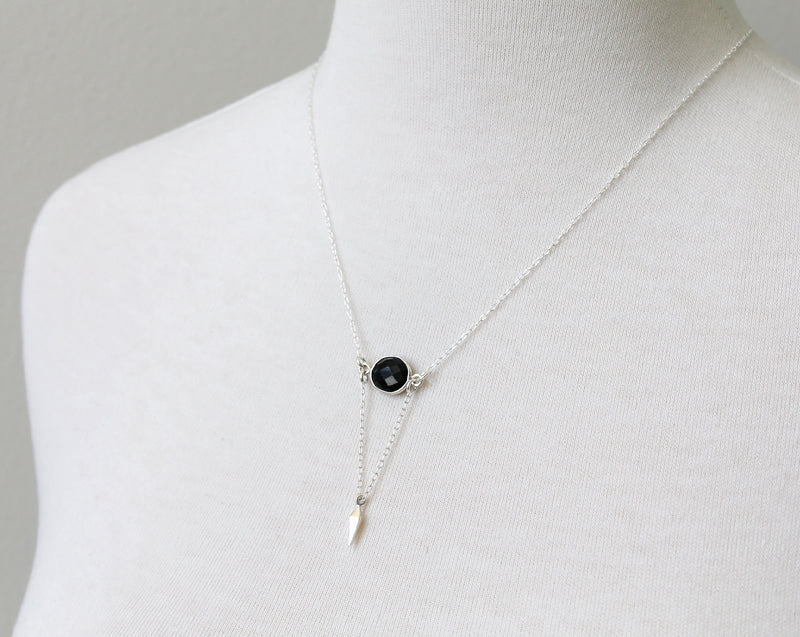 Onyx Point Necklace in sterling silver