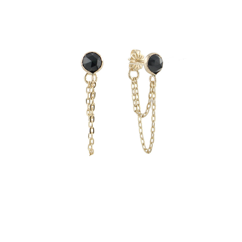 Draped Black Spinel Earrings, gold detail