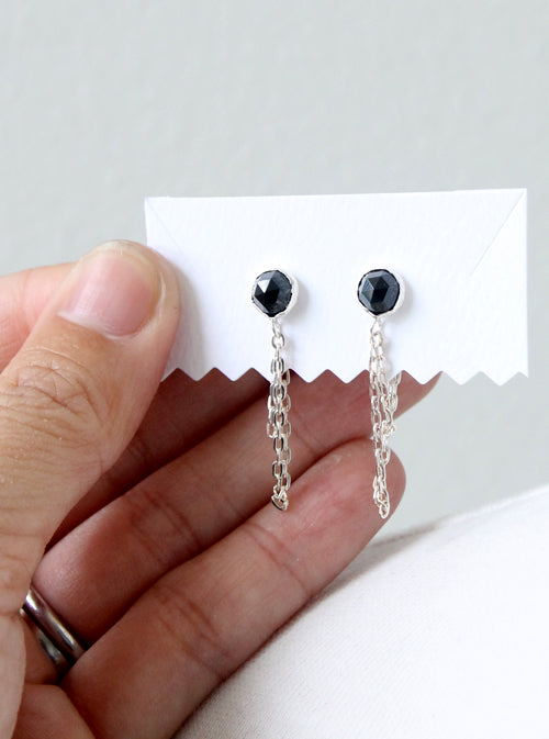 Draped Black Spinel Earrings, sterling silver