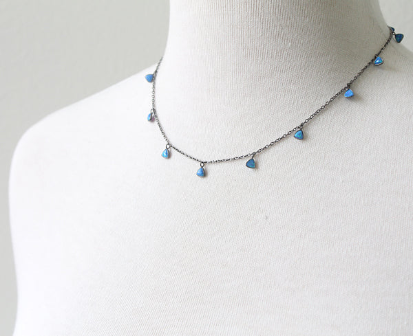 Small Blue Opals Necklace detail