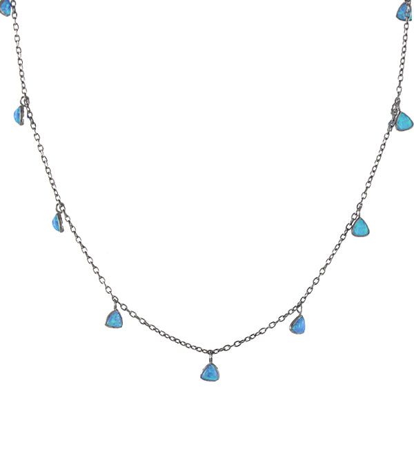 Triangle cut blue opals choker necklace