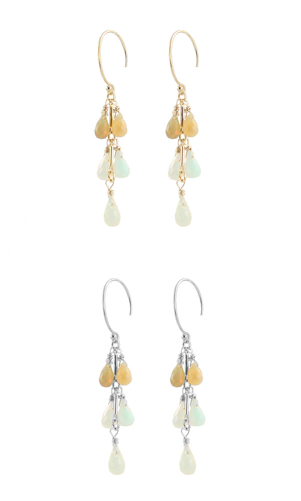 Ombre Opal cluster earrings