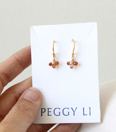 Orange Sapphire Earrings, gold vermeil