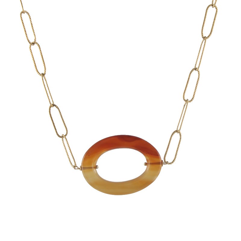Oval Gemstone Necklace, carnelian