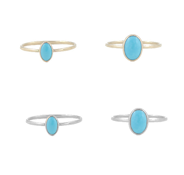 Oval Turquoise Cabochon Ring size comparison