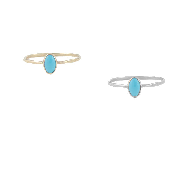 Small oval turquoise rings