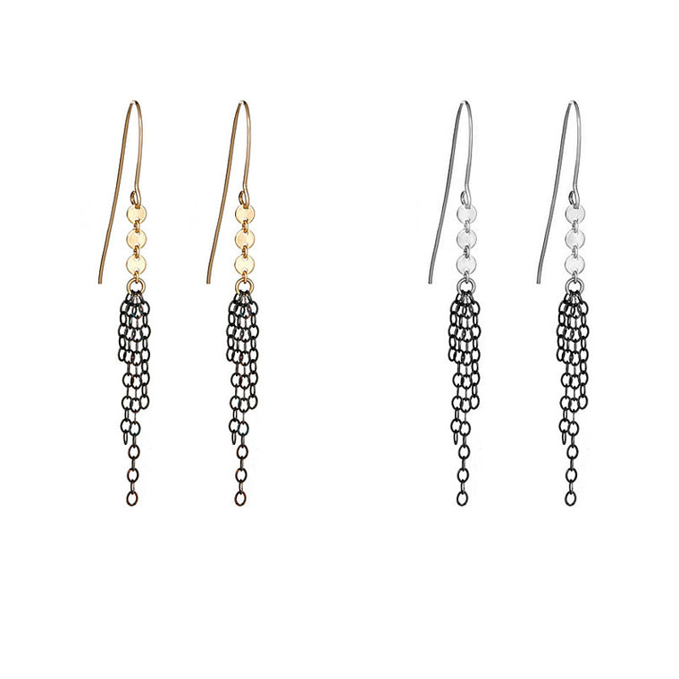 Oxidized Fringe Zipper Earrings
