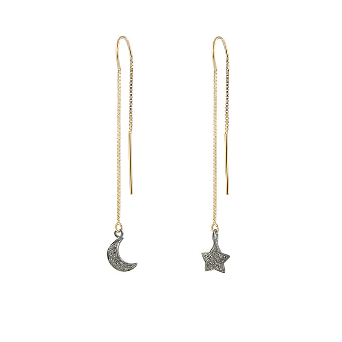 Moon and Star pave diamond ear threads