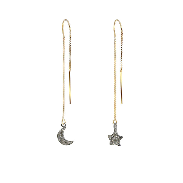 Pave Diamond Moon and Star Earrings