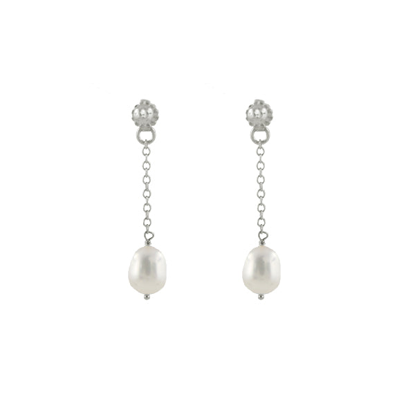 Pearl Post Ear Jacket Earrings
