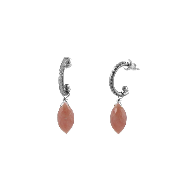 Pink Opal Arch Earrings, gold plate