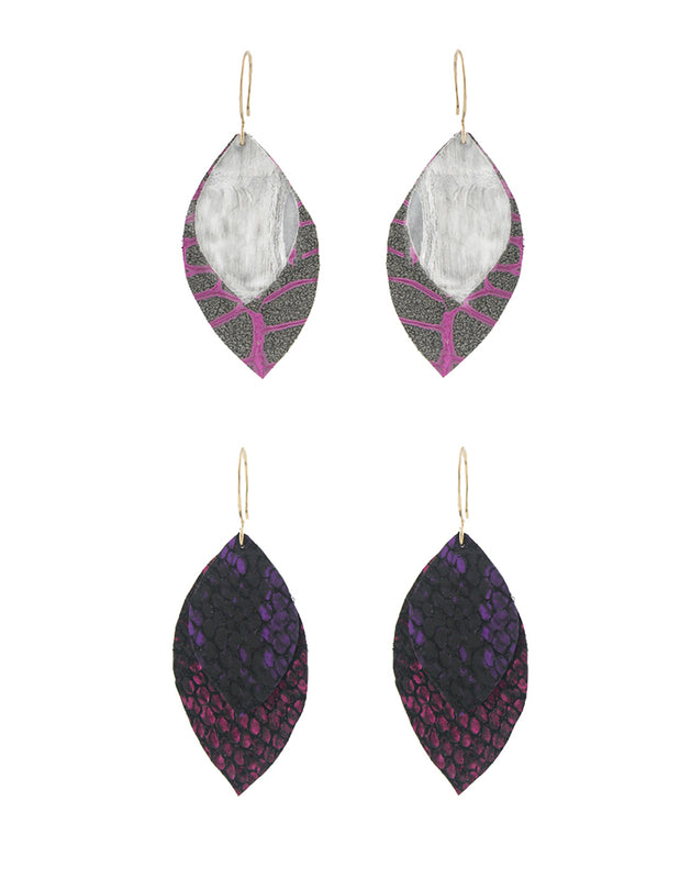 Purple Leather Recycled Earrings
