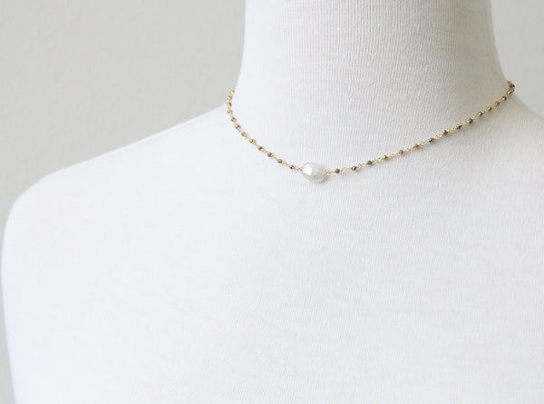 Pyrite and Moonstone Choker Necklace