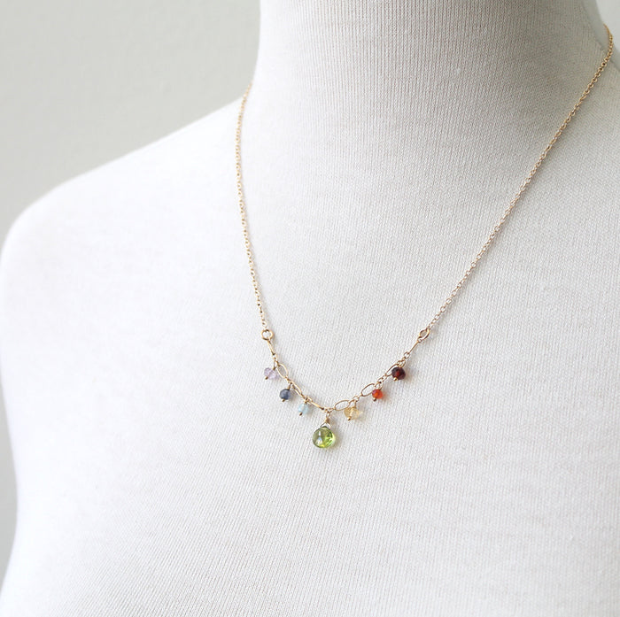 Rainbow gemstone necklace for pride month