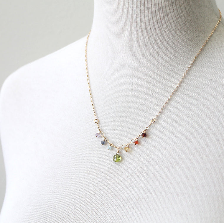 Rainbow Sprinkles Necklace in sterling silver