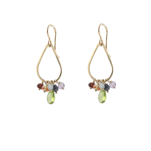 Rainbow gemstone teardrop earrings