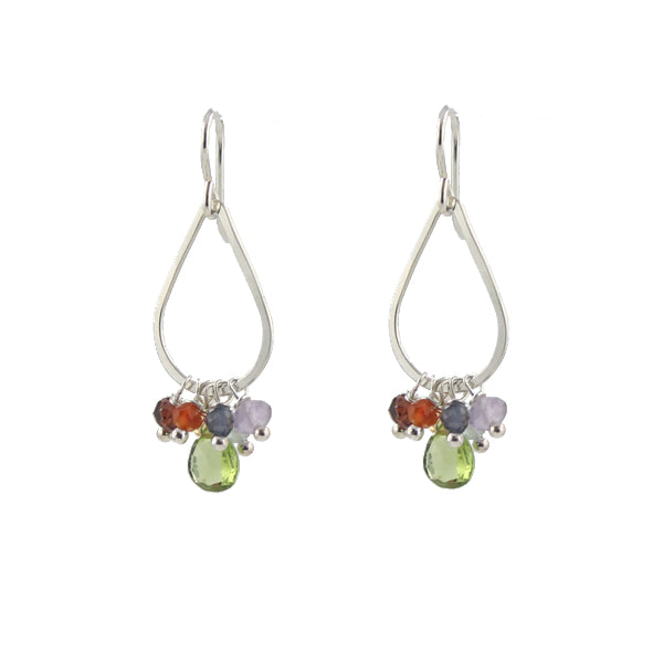 Rainbow Teardrop Earrings sterling silver