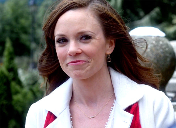 Rachel Boston in Ice Sculpture Christmas in smoky quartz earrings by Peggy Li Creations