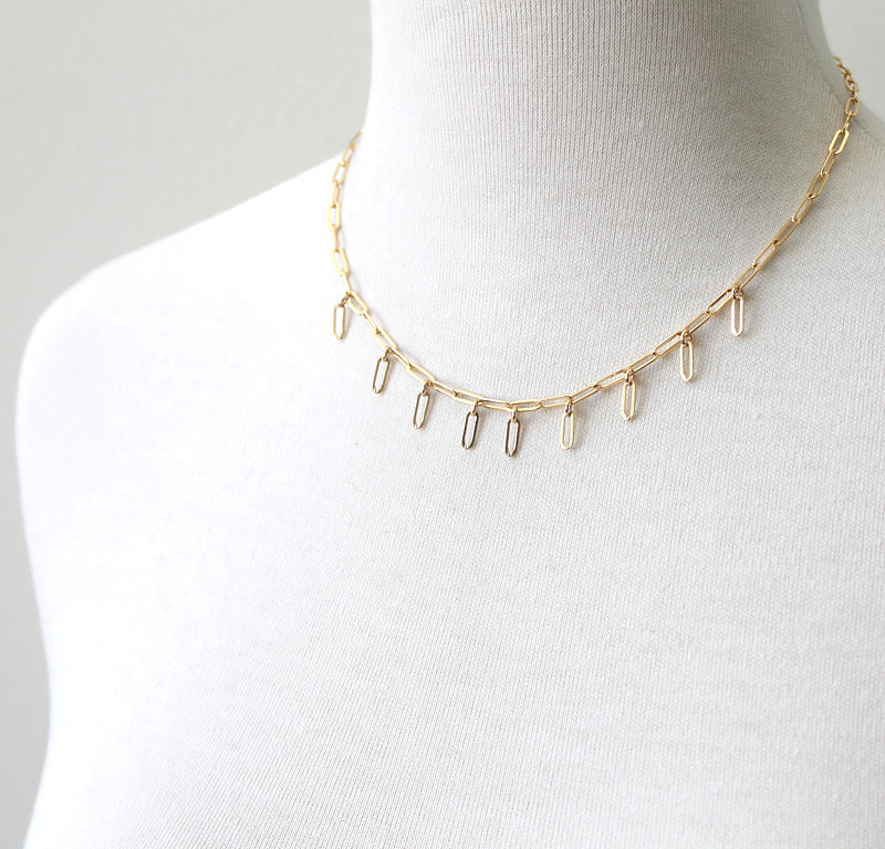 Rectangle Fringe necklace, gold