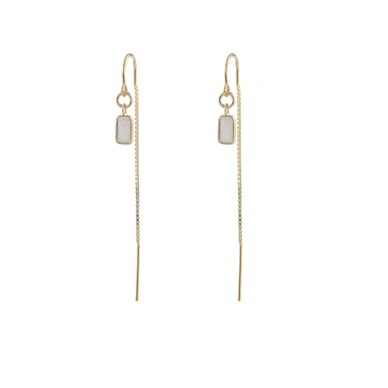 Rectangle Opal Threader Earrings