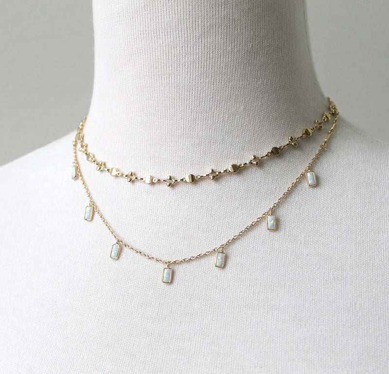 Rectangle Opals Necklace by Peggy Li