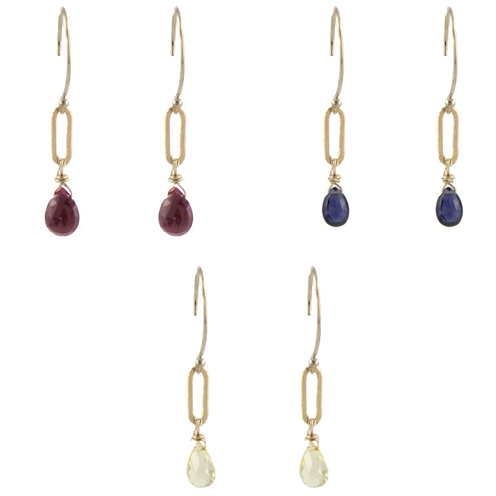 Gem Rectangle Dangle Earring