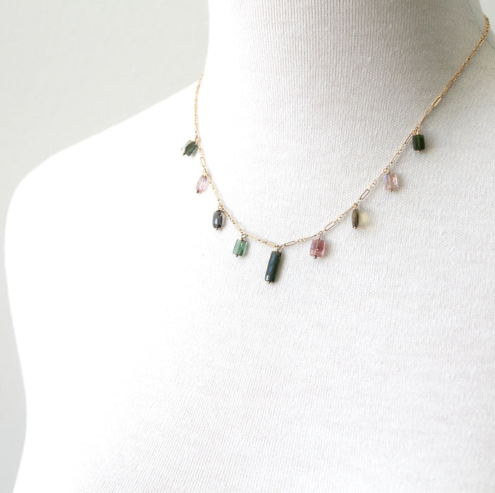Rectangle Watermelon Tourmaline Necklace