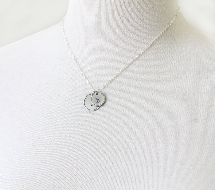 Rimmed Initial Necklace, duo