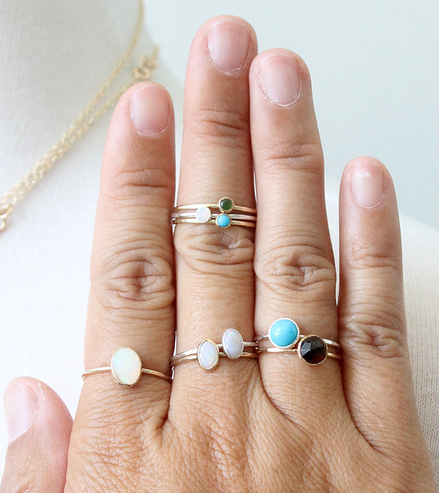 Mixed gemstone rings by Peggy Li Creations