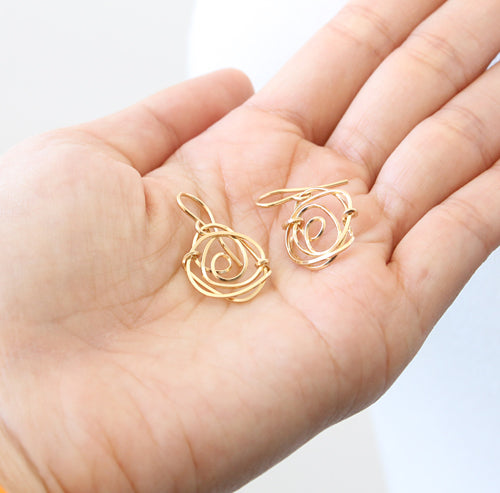 Rose Earrings, rose gold-filled