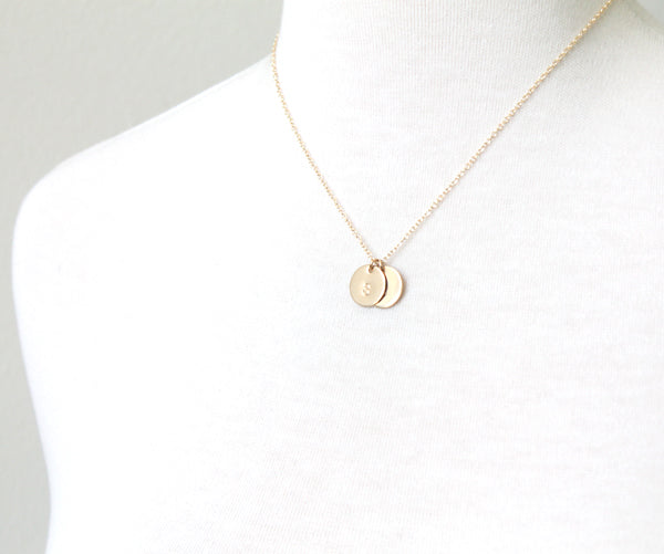 Round Initial Necklace, gold hand stamped