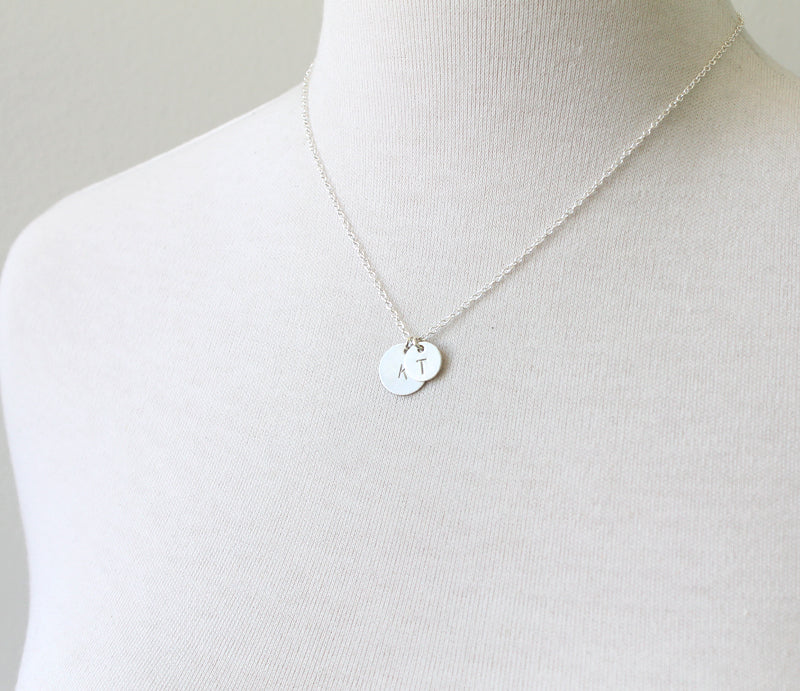 Stamped Round Initial Charm Necklace, silver