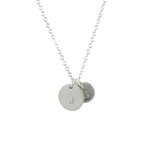 Round Stamped Initial Charm Necklace