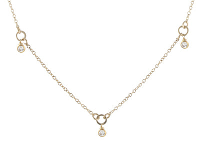Tiny Gemstone Circlet Necklace, CZ