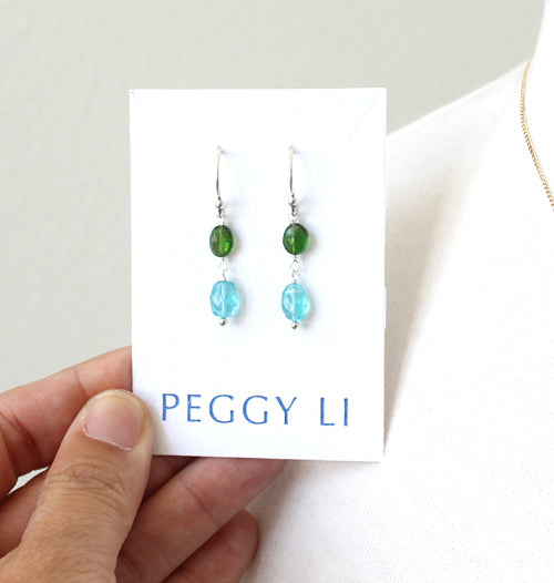 Green and blue gemstone earrings