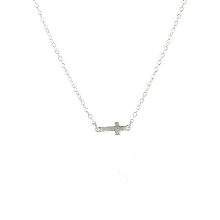 Sideways cross necklace silver