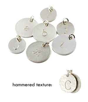 Individual silver initial charms
