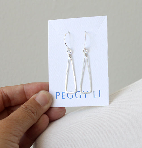 Skinny Triangle Earrings, silver