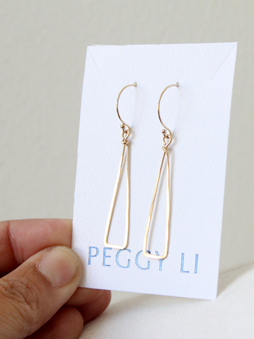 Skinny Triangle Earrings in gold