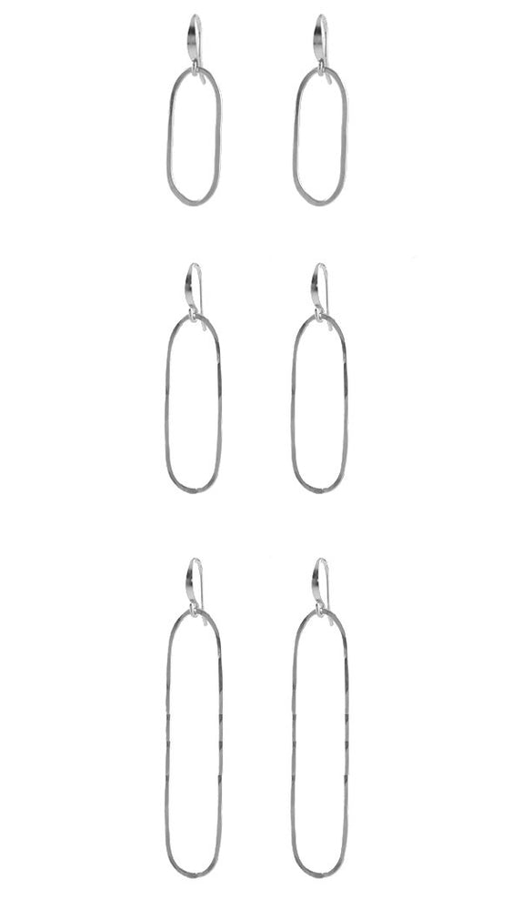 Slim Oval Earrings silver
