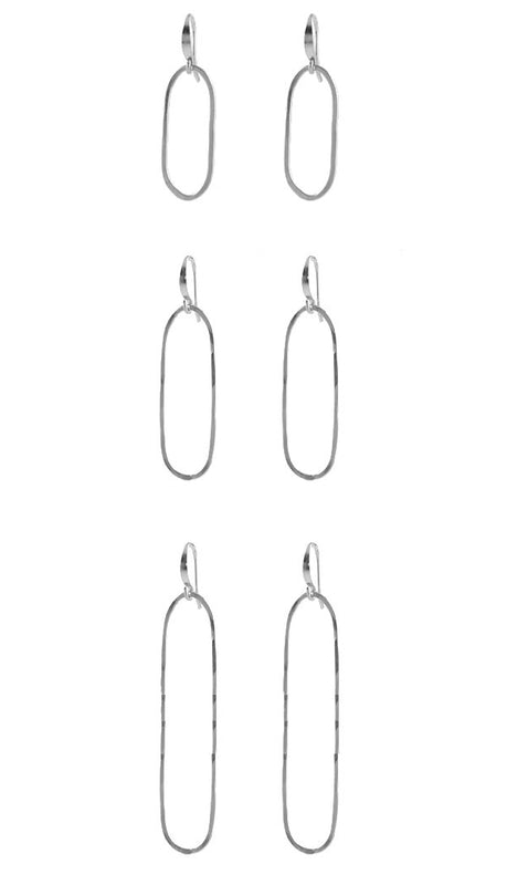 Slim oval earrings sterling silver