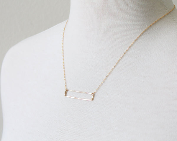 Open Rectangle Necklace, gold