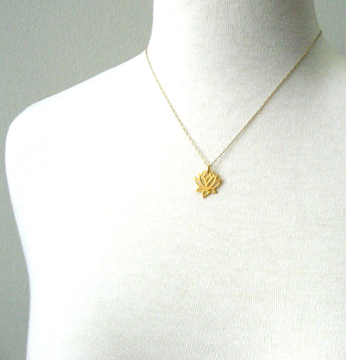 Small gold lotus pendant necklace